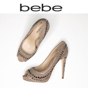 Bebe taupe Suede embellished heels NWOB 10